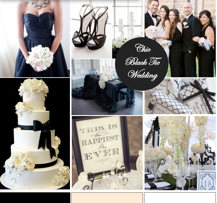 Chic White Wedding Theme: Black Tie Affair - Formal And Chic Wedding