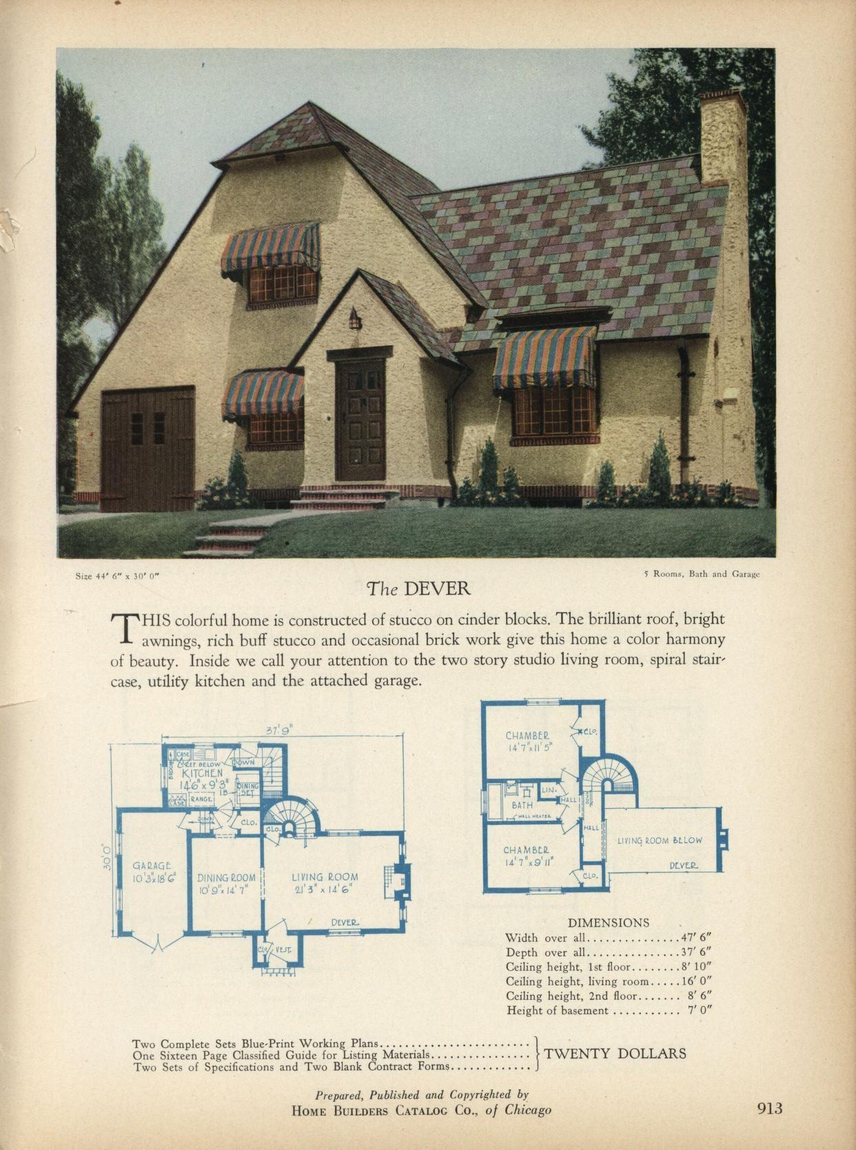 The Dever Home Builders Catalog Plans Of All Types Of Small Homes By Home Builders Catalog Co Published 1928 Vintage House Plans House Plans Architecture