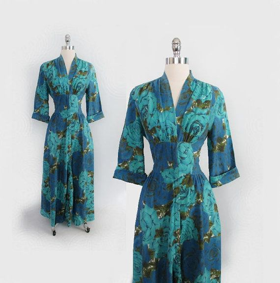 Vintage 50\'s Aqua Roses Dressing Gown Robe House Dress M / L ...
