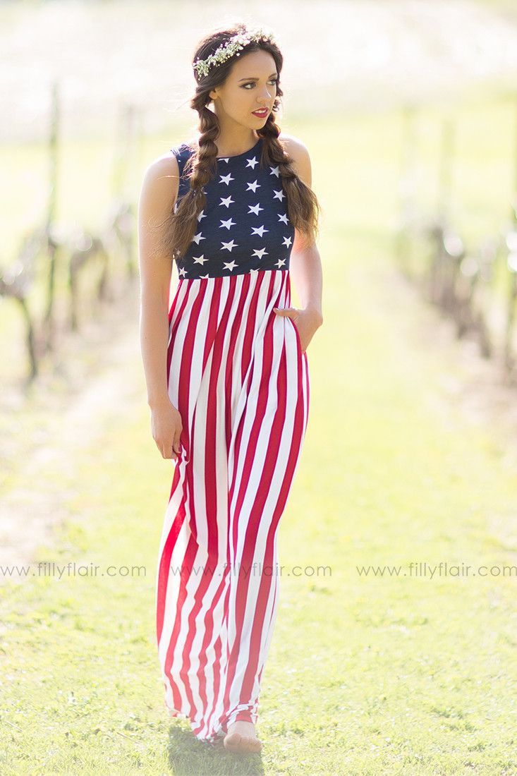 cdb99355188 Country Love American Flag Maxi Dress with Pockets – Filly Flair Boho  Summer Dresses