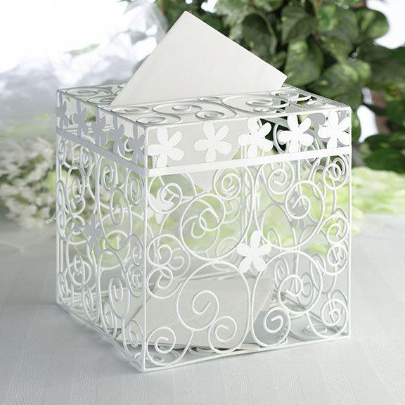Metal Swirl Wedding Gift Box Card