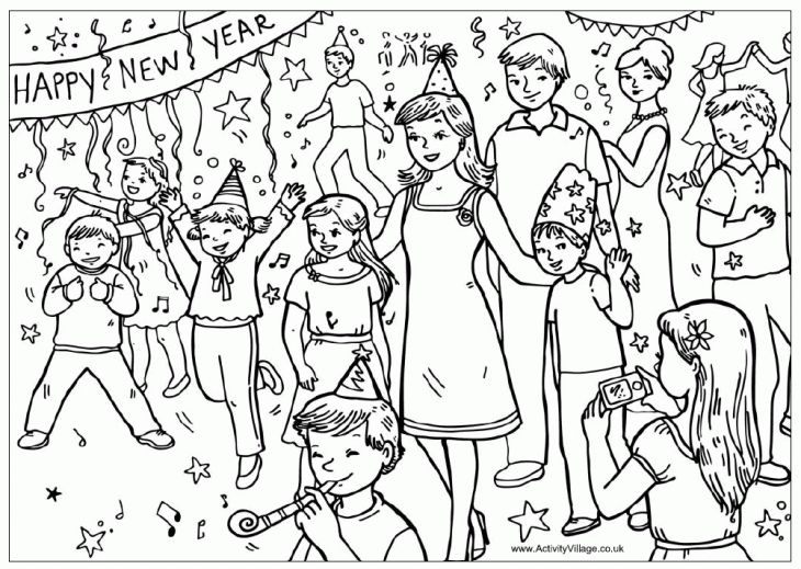 Happy New Year Party coloring page free printable Holiday