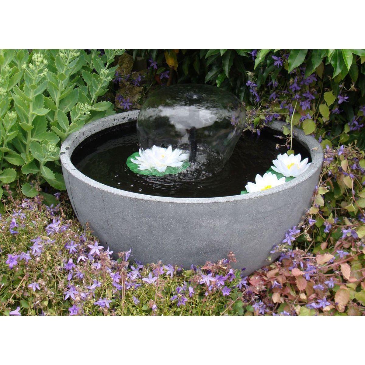 Fontaine De Jardin Ronde – Grise – Taille : Taille Unique
