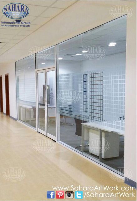 clear office. Office Door And Partitions, Made From Clear Glass Sandblasted Design, Complemented With ROYAL