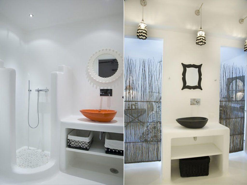 Greek Bathroom With Stone Wall