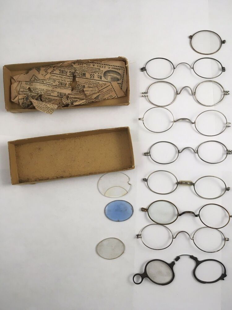 Lot of 8 Antique Wire Eyeglass Frames Spectacles for