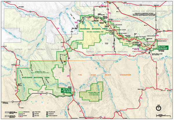 Official NPS map of Badlands National Park in South Dakota Location