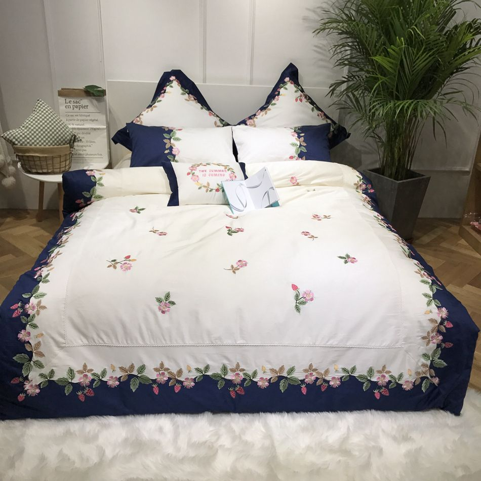 Embroidery Duvet Cover Egyptian Cotton Bedding Queen Size Bed