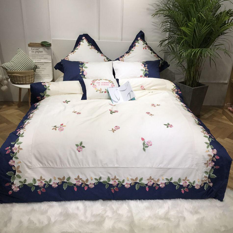Embroidery Duvet Cover Egyptian Cotton Bedding Queen Size Bed Sheets Set High Quality Bed Linen Pillow Case Modern Decoration Yatak Ortuleri Dekor Yatak Ortusu