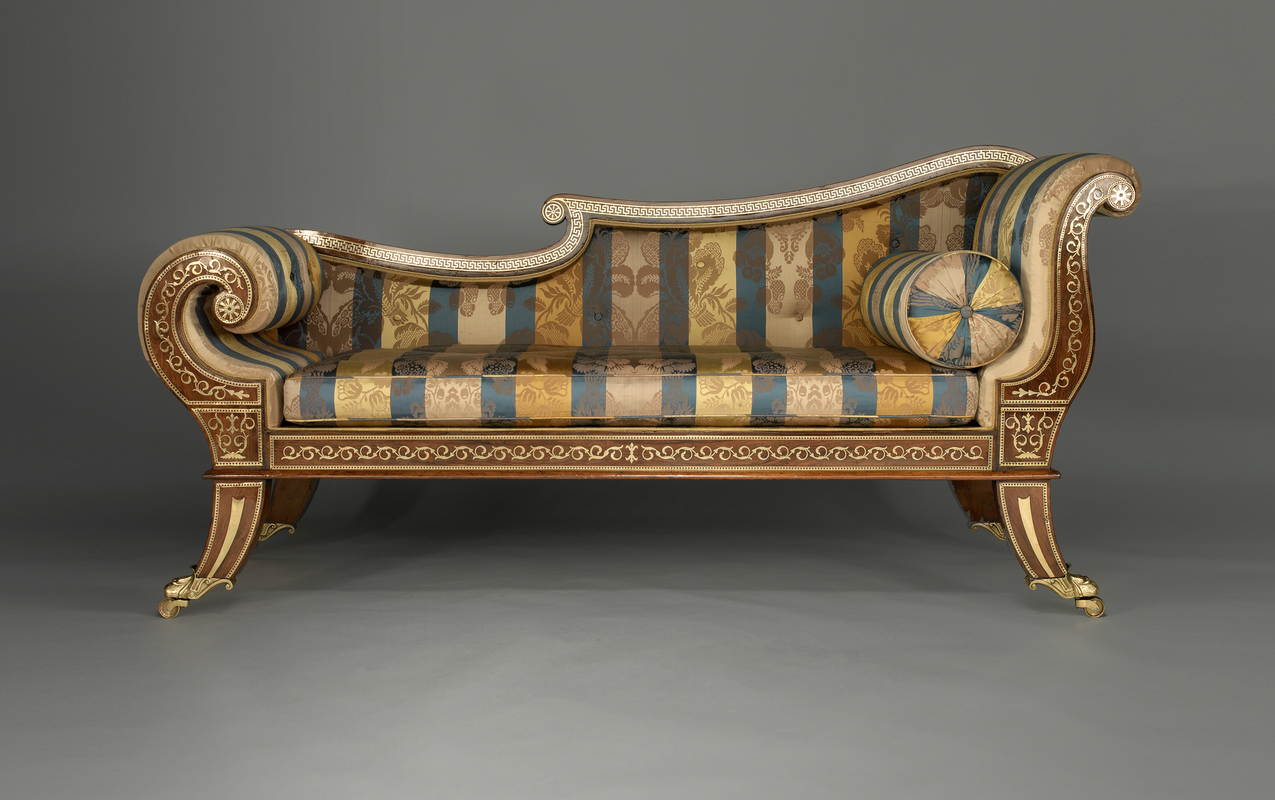An English Regency Rosewood Chaise Longue C 1810 Profusely Inlaid  # Thomas Hope Muebles