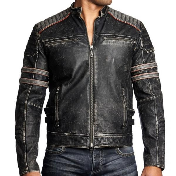 blouson moto vintage cuir basic wardrobe items jackets cafe racer leather jacket. Black Bedroom Furniture Sets. Home Design Ideas