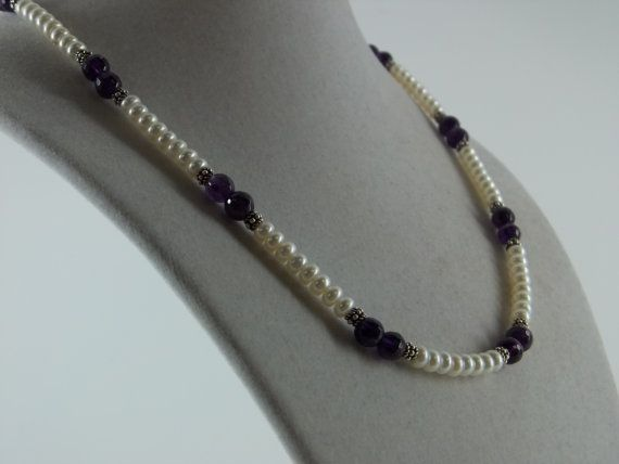 Dark Amethyst and Pearl Necklace by SimpleEleganceJN on Etsy, $48.00