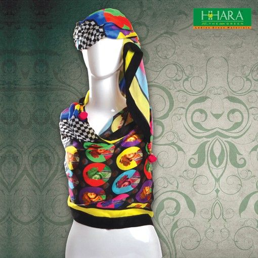 Multi colored woven cotton digital printed #stole, has fringes on both the ends - See more at: