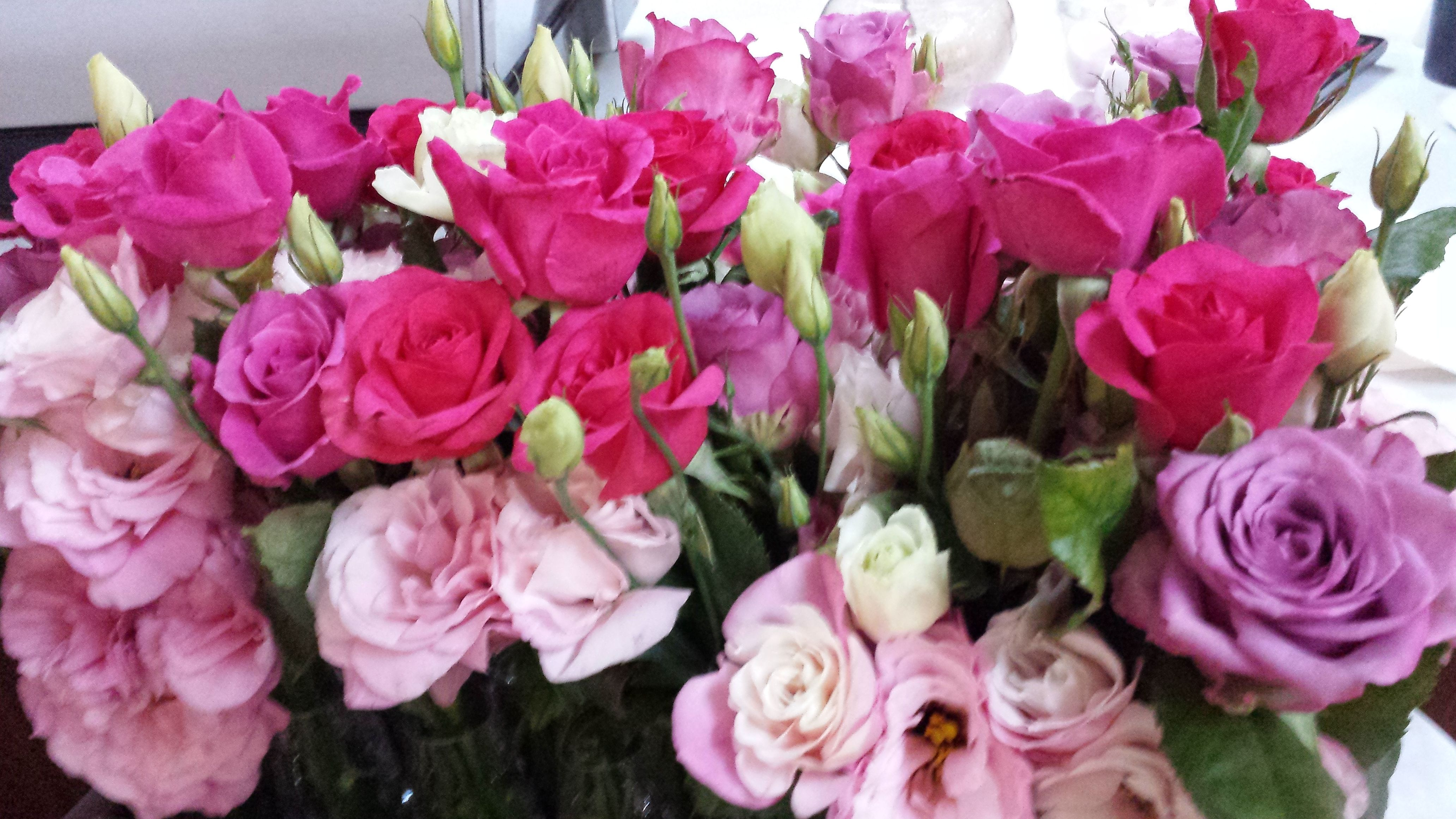 Table Flowers Clustered Together