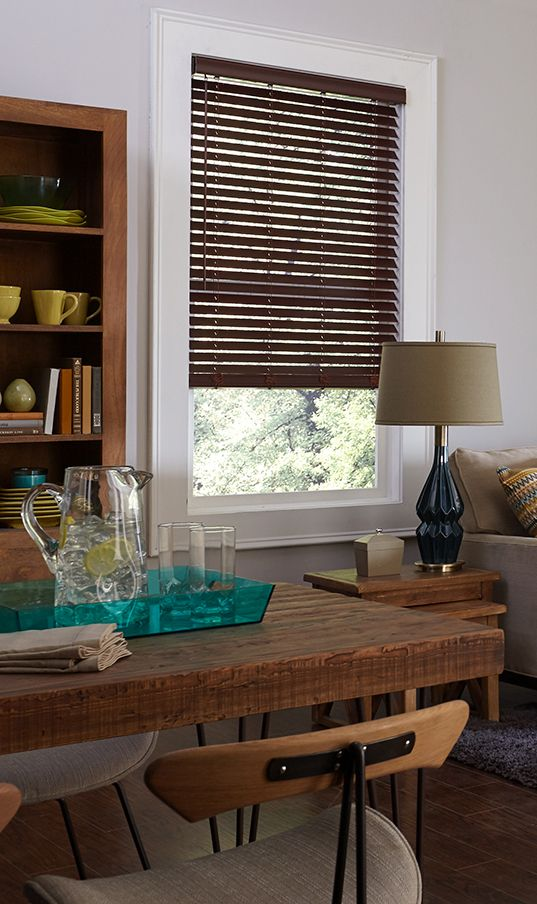 Blinds Com Premium Faux Wood Blind In Mahogany Faux Wood Blinds In