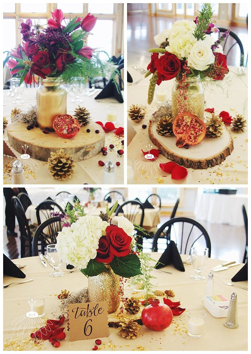 Gold glitter mason jar centerpieces rustic cranberry and ivory