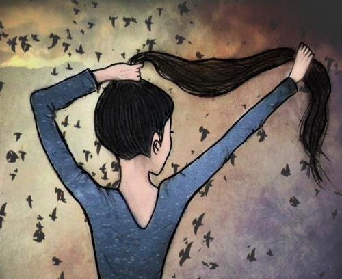 menina e seu cabelo.
