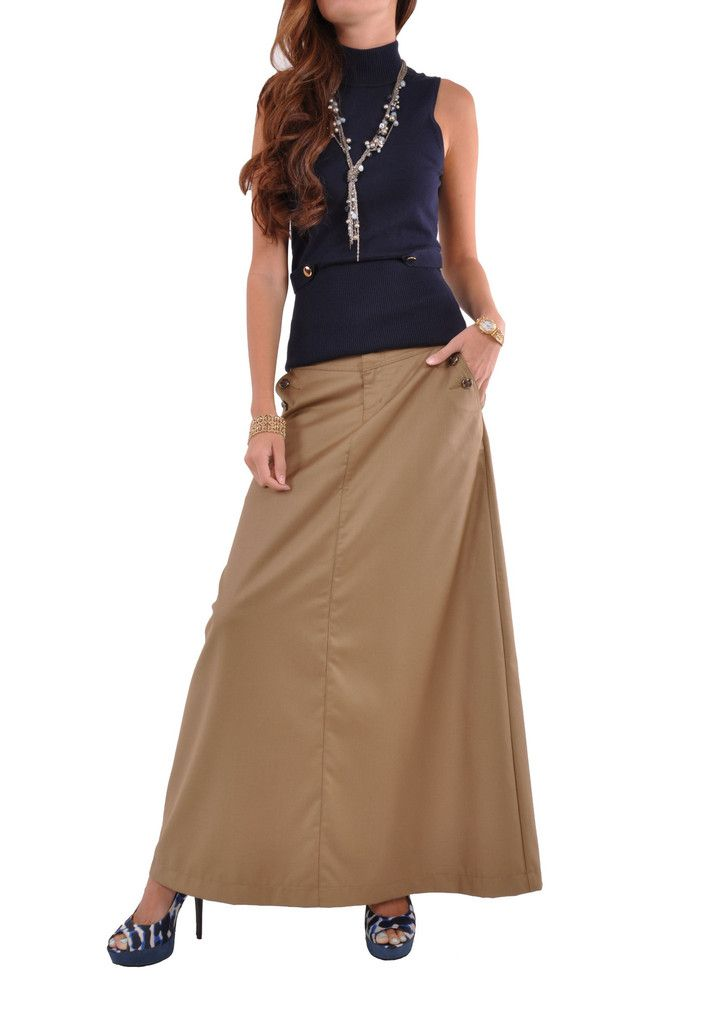 Just Chic Khaki Long Skirt # TA-0494 | Skirts, Style and Long skirts