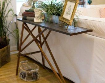 Wood ironing board sofa table with red rustic support vintage rustic