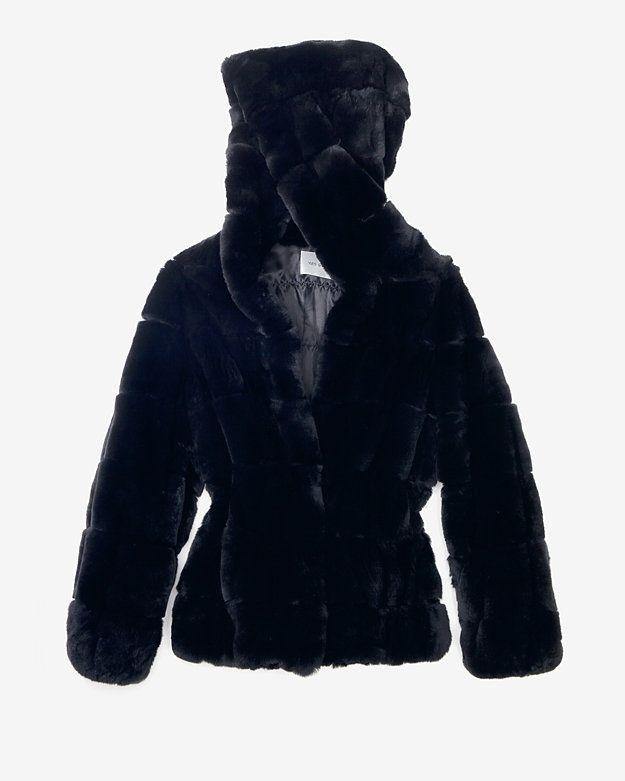 Yves Salomon EXCLUSIVE Hooded Mink Jacket: Navy