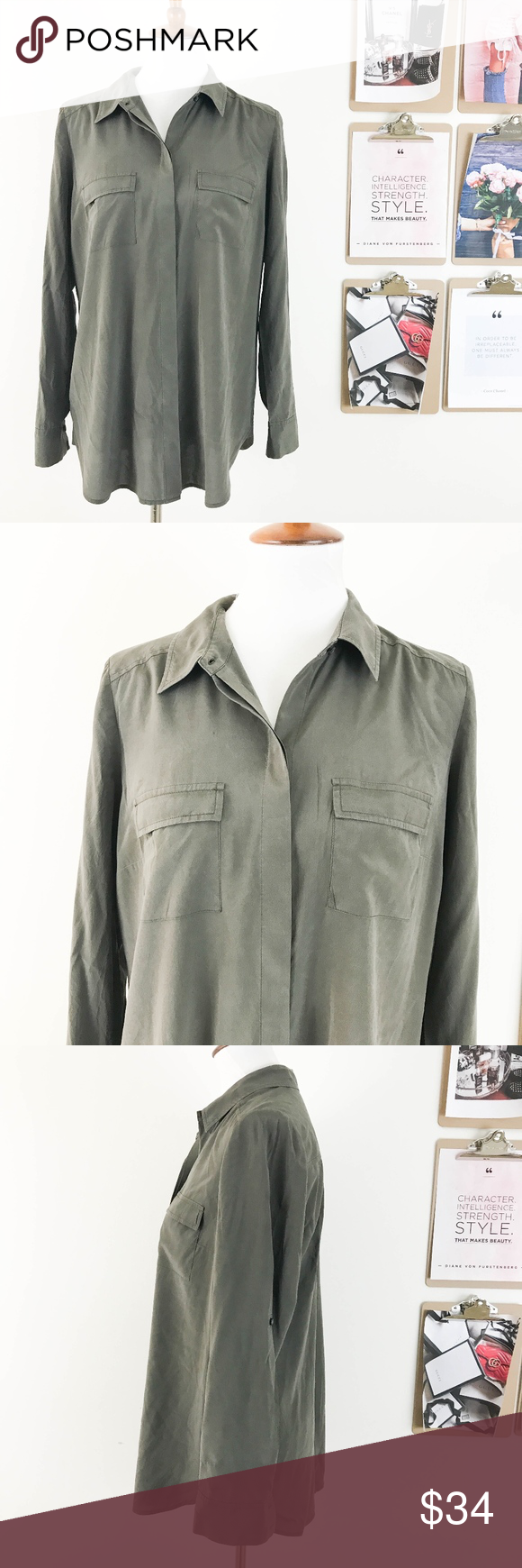 b033f993026afe Ann Taylor Silk Blouse Size 12 Button Down Green Ann Taylor Women's Silk  Blouse Size 12