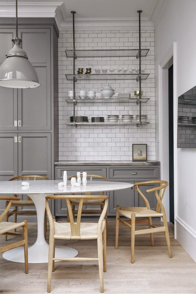 Super Grey Industrial Lampshade Also / Susan Greenleaf San Francisco Home    A Kitchen With Gray Cabinetry, Open Shelving, White Subway Tile, ...
