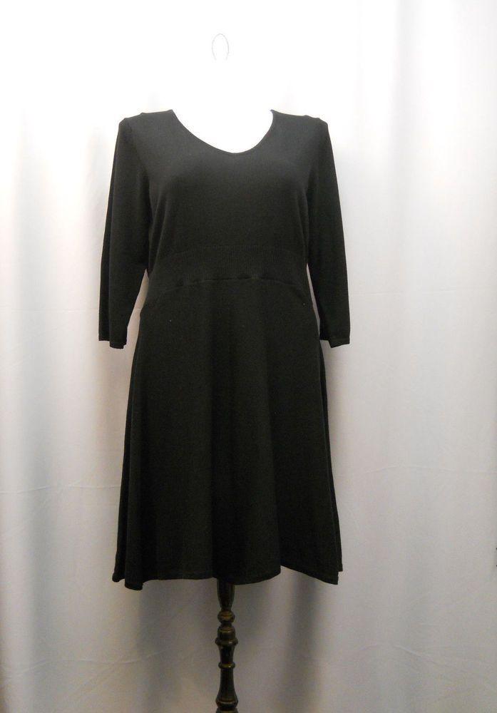 4055916ba24a3 Spense Black 3 4 Sleeves V-Neck Sweater Dress Plus Size 1X  Spense   SweaterDress  LittleBlackDress