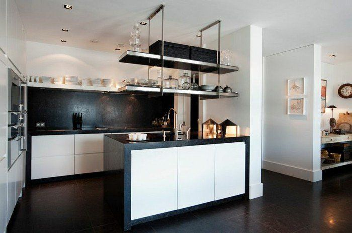 Küche Schwarz Weiß Wände Streichen Küchenregale Metall Kochinsel Schwarzer  Boden Weiße Küchenschranktüren