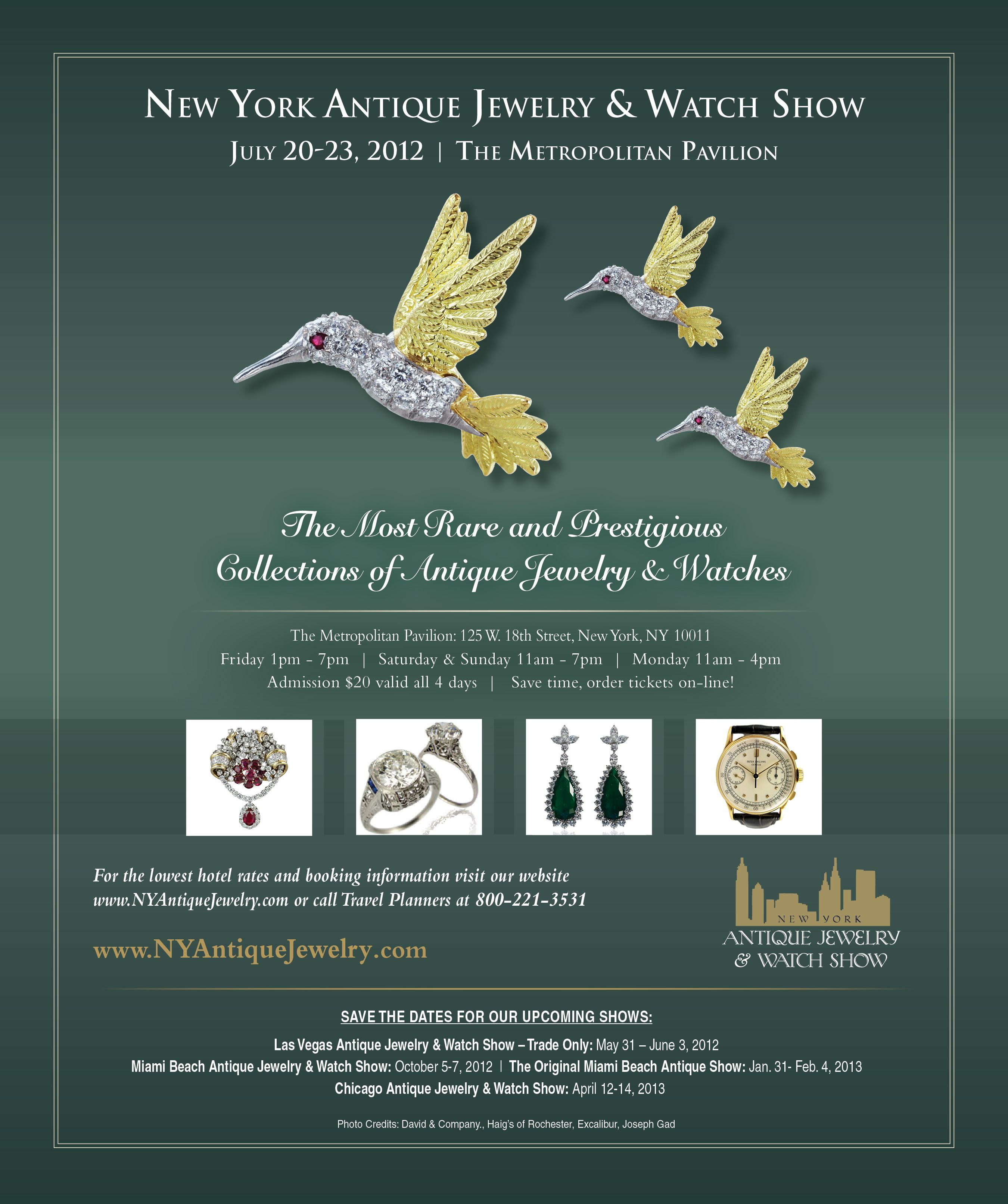 Advertisement for the New York Antique Jewelry Watch Show by