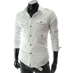 (3PS-WHITE) Mens slim fit style strap 3 pocket shirts WHITE