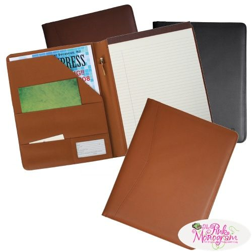 Monogrammed Leather Padfolio for men and women Office Supplies - leather resume portfolio