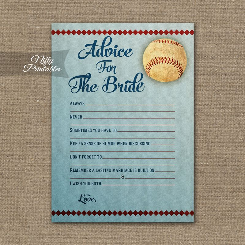 bridal shower advice cards baseball