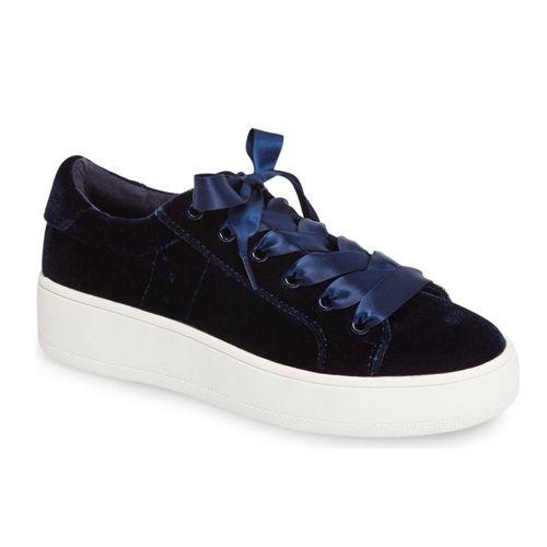 1e278d4307d Steve Madden Bertie-V Blue Velvet Platform Sneaker via  bestchicfashion