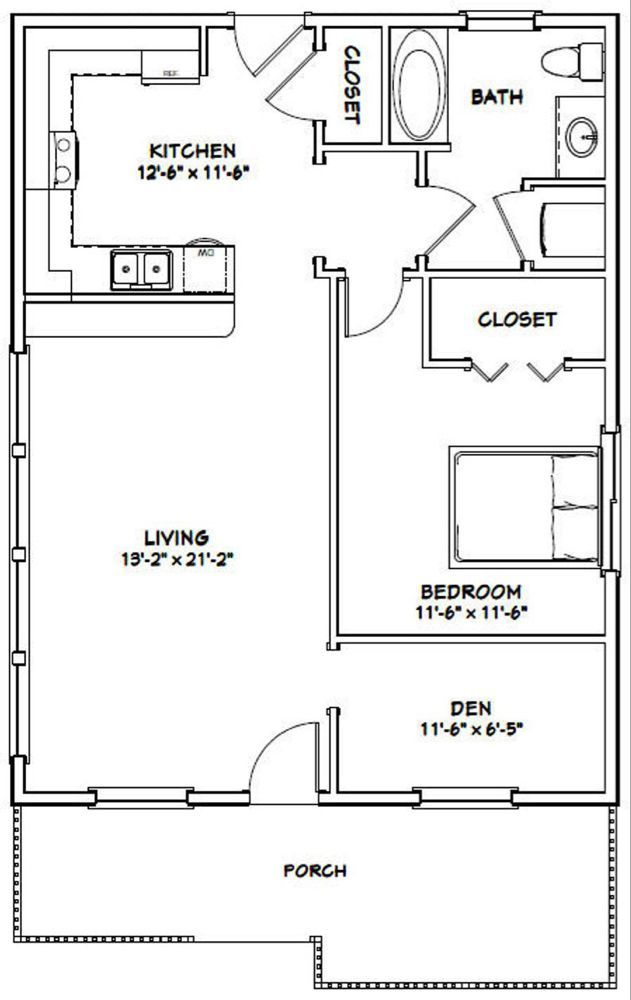 26x34 House 1 Bedroom 1 Bath 884 Sq Ft Pdf Floor Plan Instant Download Models 1b And In 2020 Guest House Plans Small House Floor Plans One Bedroom House Small house design plan pdf