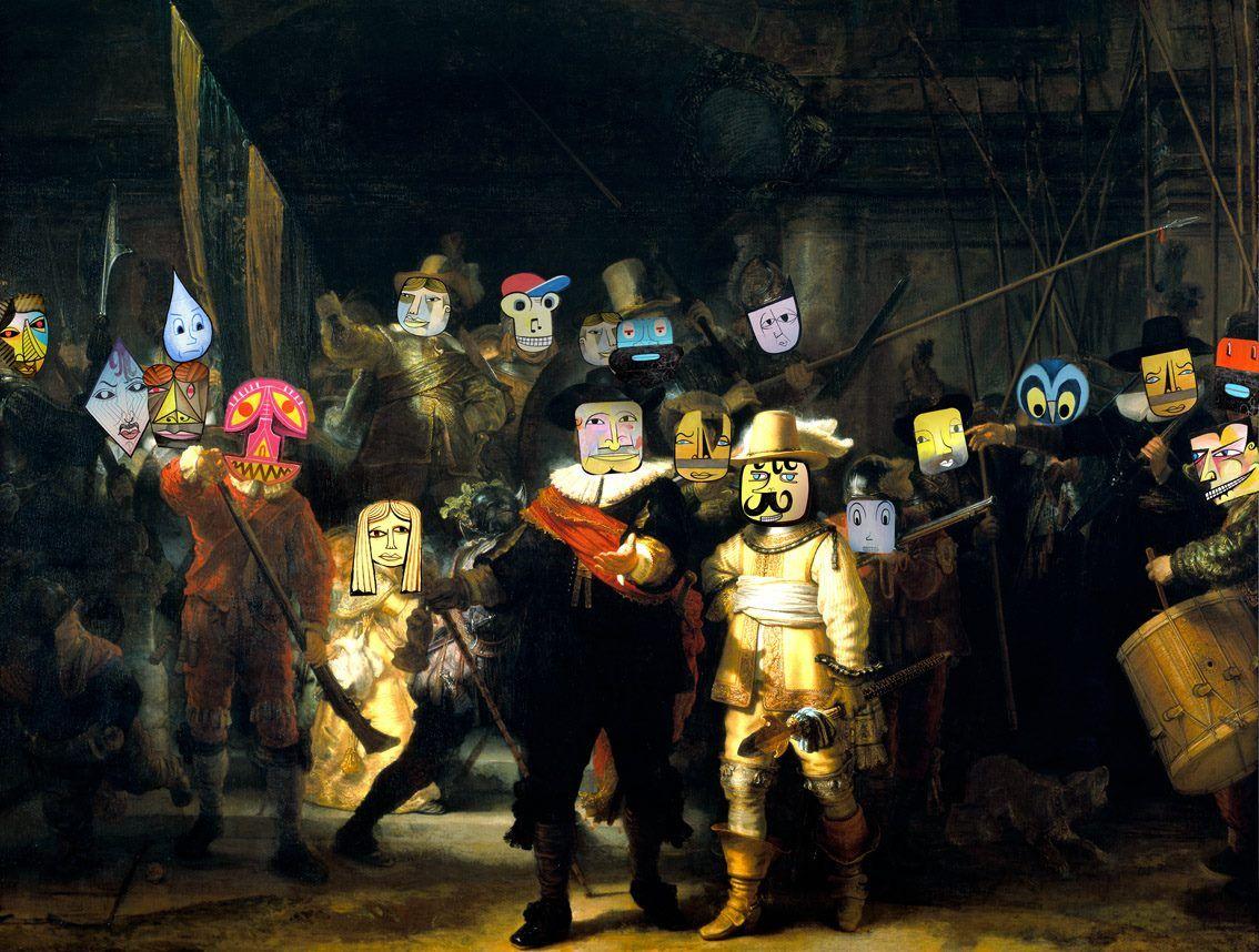 """Jim Avignon  after Rembrandt : die Nacht """"wache"""""""
