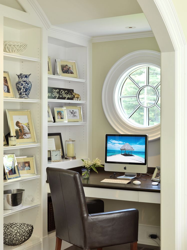 dedicated office nook - no window, so replace with a mirror