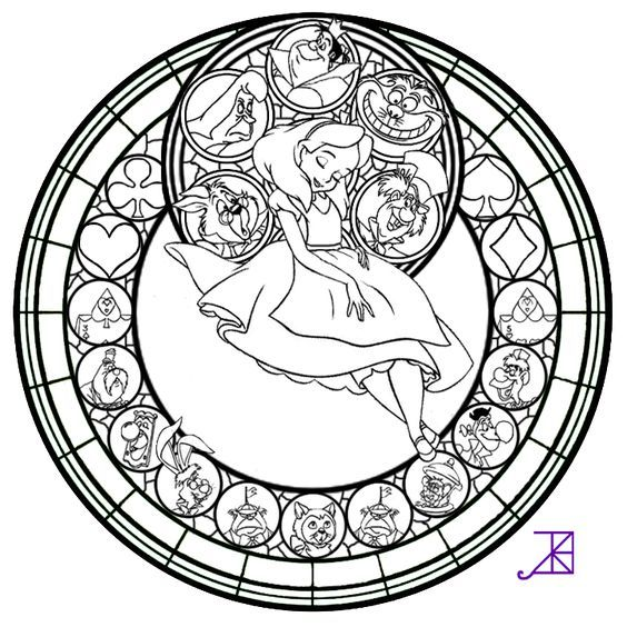 Free To Color Colored Version Link Other Coloring Pages And Things Use Alice Stained Glass Line Art