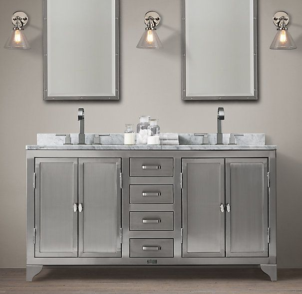 1930s Laboratory Stainless Steel Double Vanity Sink From Restoration Hardware Bathroom