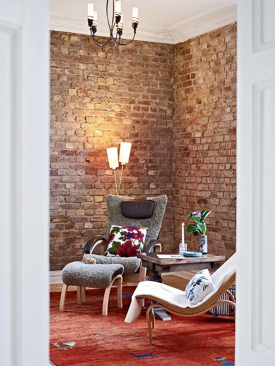brick wall Ziegelwand Pinterest Ziegelwände, Wohnbereich und - unbehandelte ziegelwand