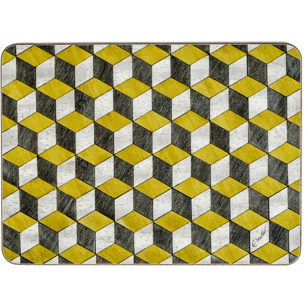 4 Yellow Grey Placemats And Matching Coasters Placemat Retro Tablemats 57 Liked On Polyvore Featuring Home K Grey Placemats Yellow Placemats Placemats