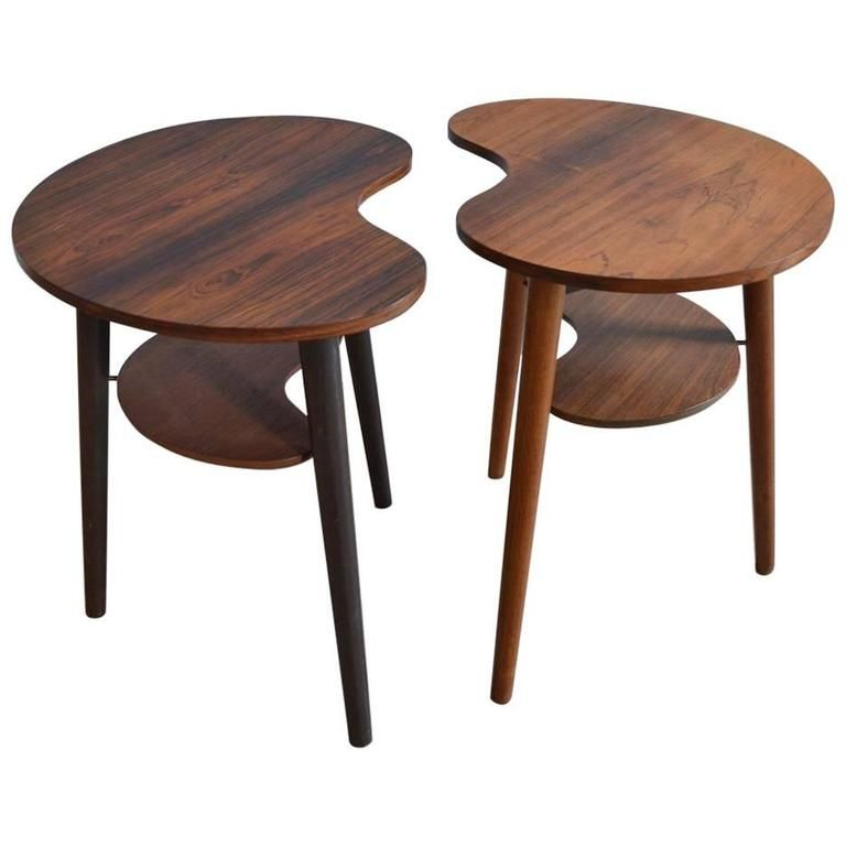 Charming Pair Of Danish Palette Shaped Side Tables By L. Chr Larsen U0026 Son | 1stdibs