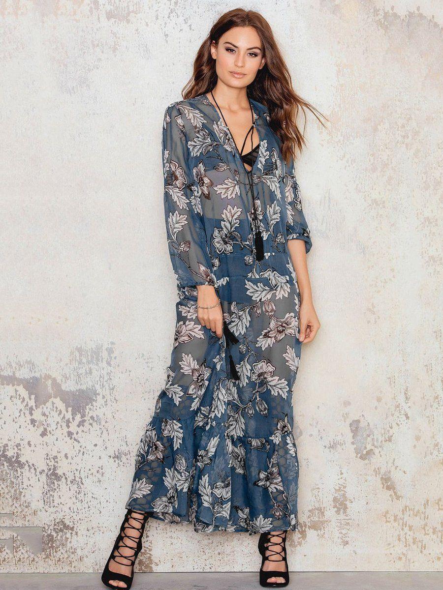 Vneck longsleeve floralprint maxi bohemia dress travel in