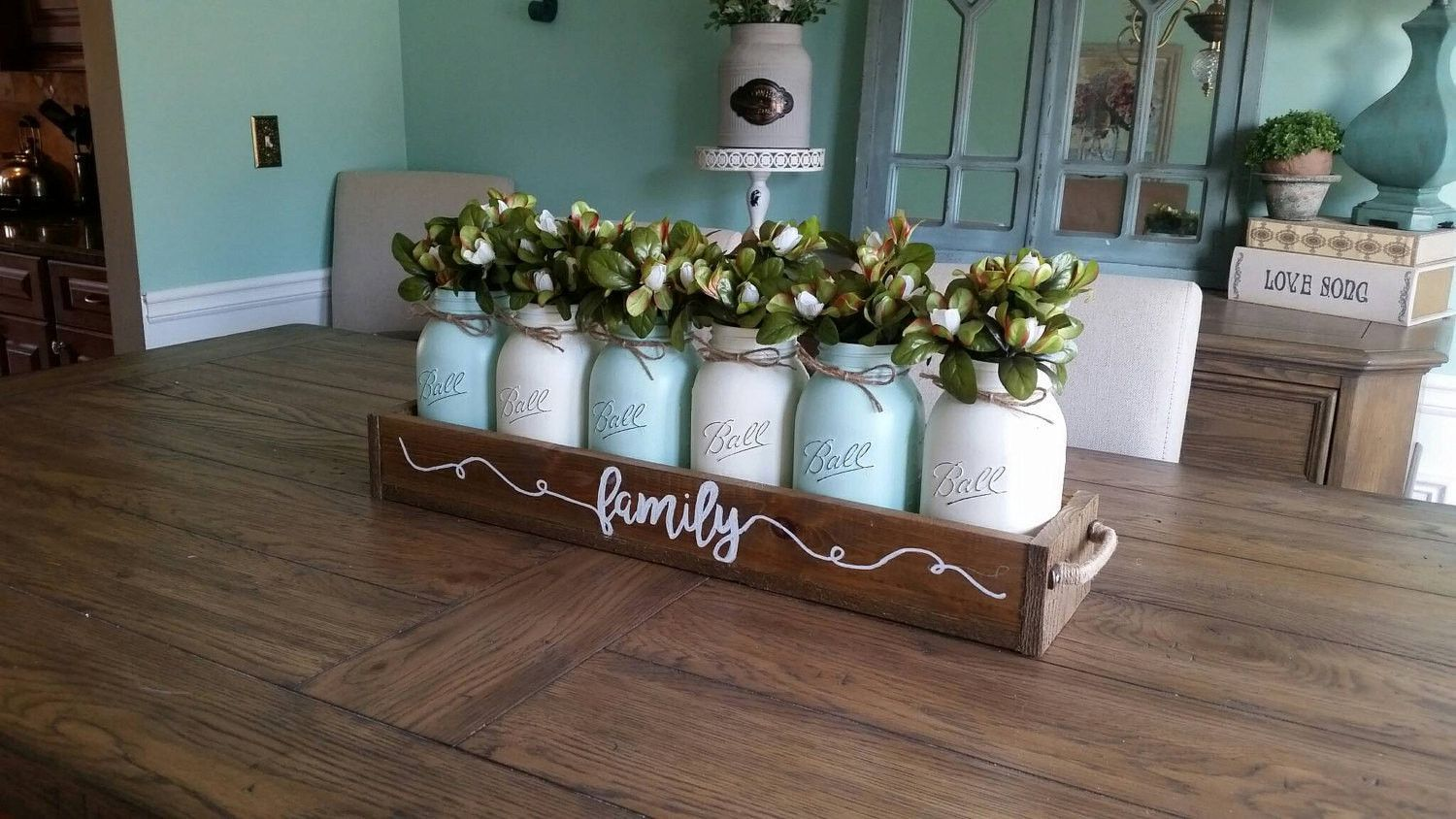 Mason Jar Table Decor Mason Jar Centerpiece Rustic Home Decor Table Decor Dining Room Wedding C Spring Table Decor Spring Home Decor Cheap Home Decor