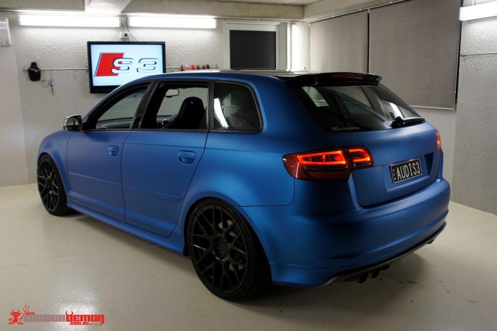 Audi S3 Matte Blue Vinyl Wrap 1 Audi S3 Matte Blue Metallic Vinyl