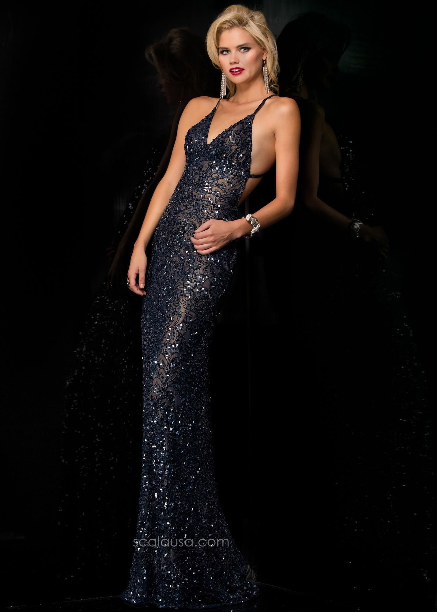 27a9efed3426 Scala 47542 Sexy Sequin Open Back Fitted Evening Gown | Dresses ...