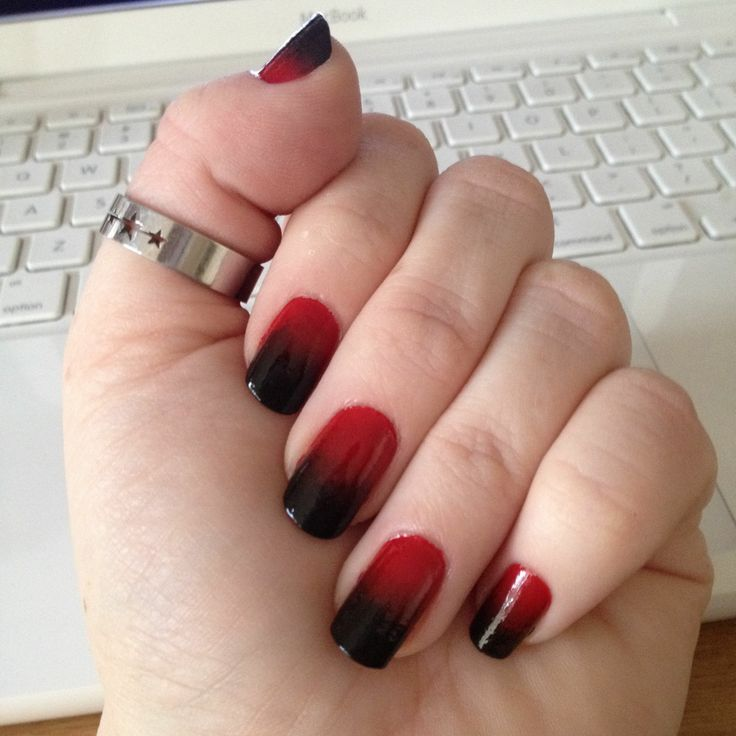 Red And Black Ombre Nails Using Wet Wild Shine Polish
