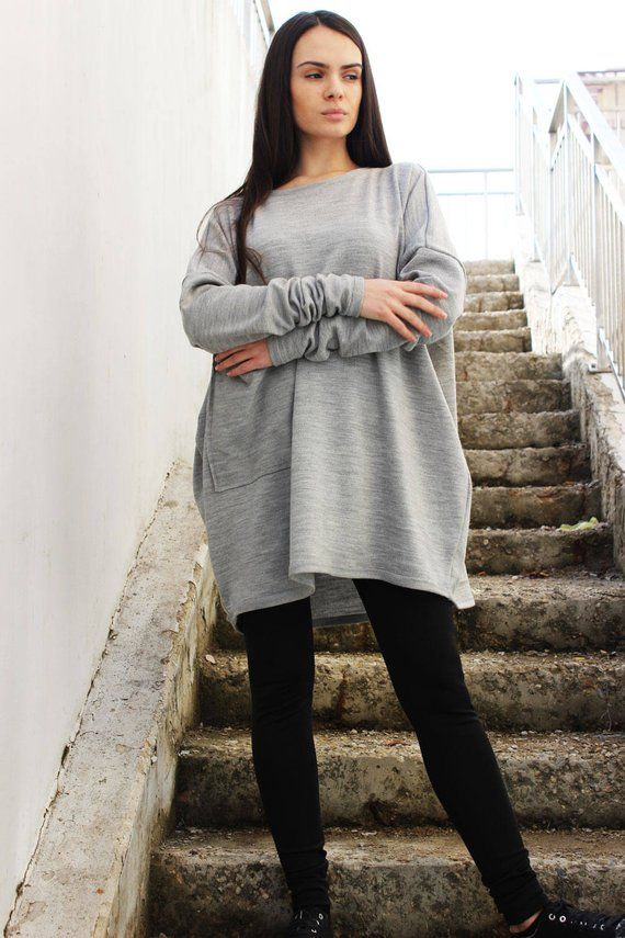 cfb43073701 Grey Tunic  Tunic Tops Womens Sweater Boho Top Oversized tunic  Plus Size  Maxi Long Sleeves Top Over