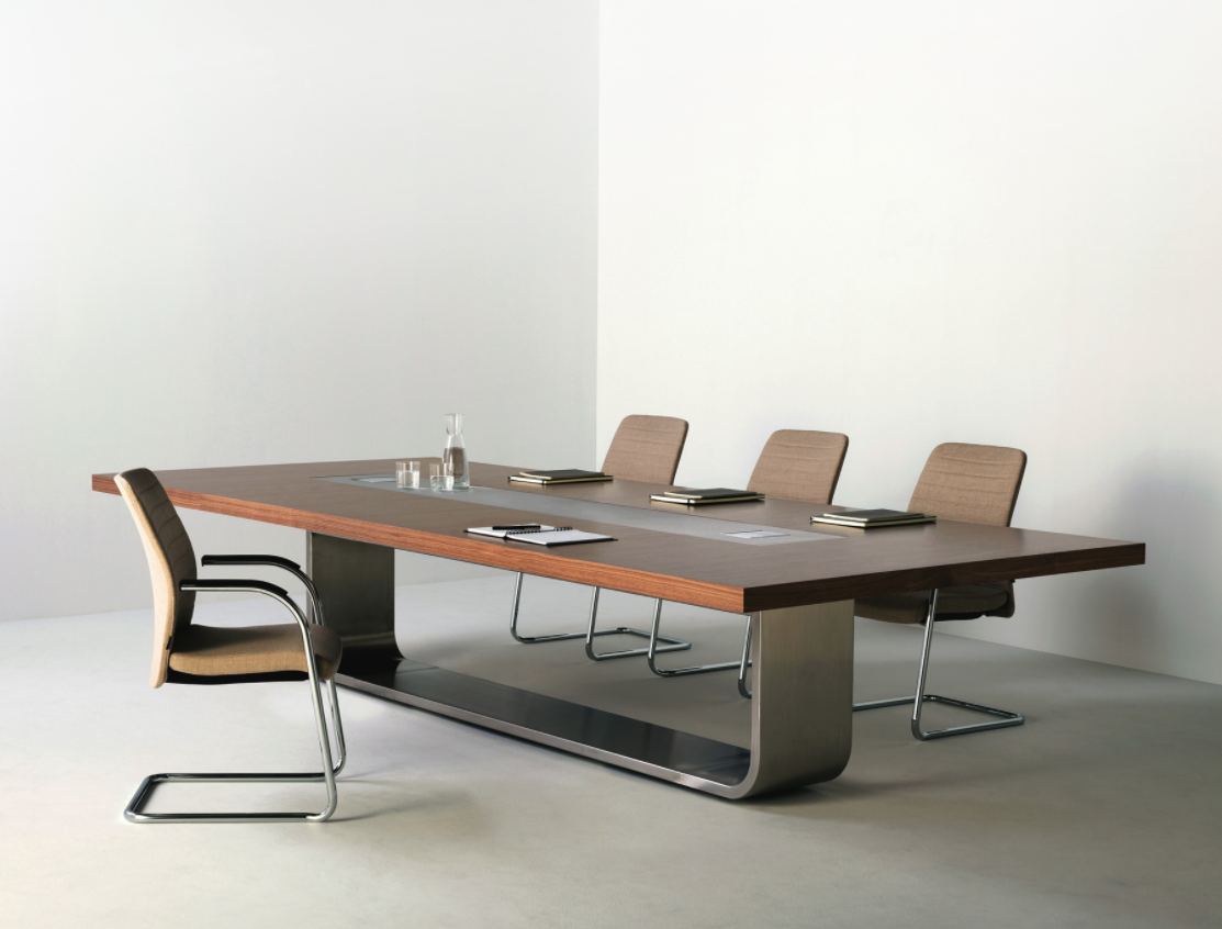 This Modern Conference Room Table Shown In A Bent Steel Flowing Base Toped With A Straight Forwar Modern Home Office Furniture Conference Room Design Furniture