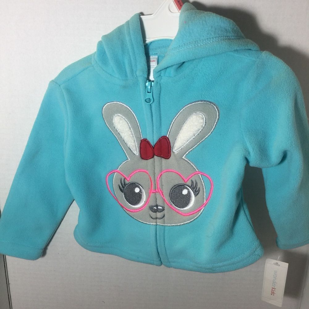 Toddler Girls Girl Wonderkids Teal Light Blue Pink Zipper Coat Jacket Fall