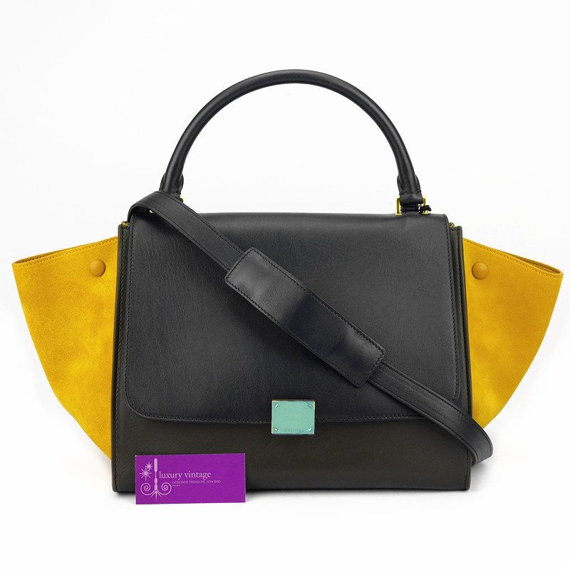 CELINE Trapeze Small Navy Blue Yellow Olive green Suede With Calfleather  Brandnew Condition ref.code-(BVEYE-1) 40df9d1285